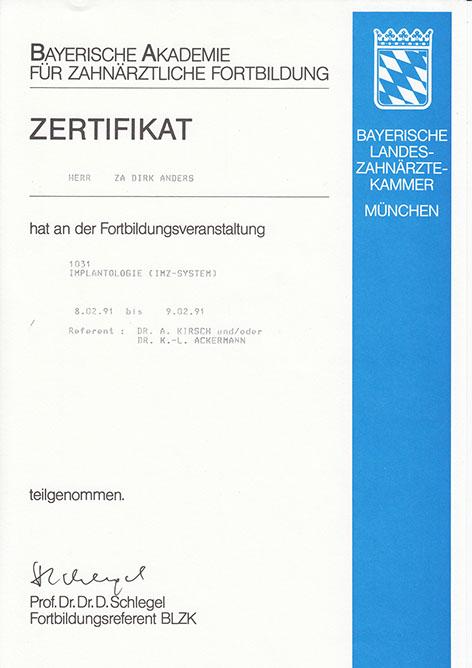 Zertifikat BLZK