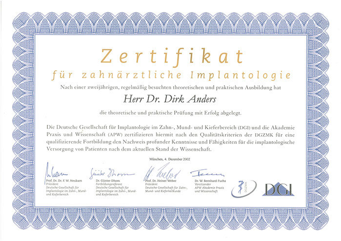 Zertifikat DGI