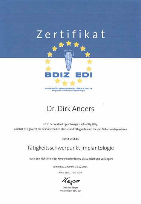"""Zertifikat """"Tätigkeitsschwerpunkt Implantologie"""""""